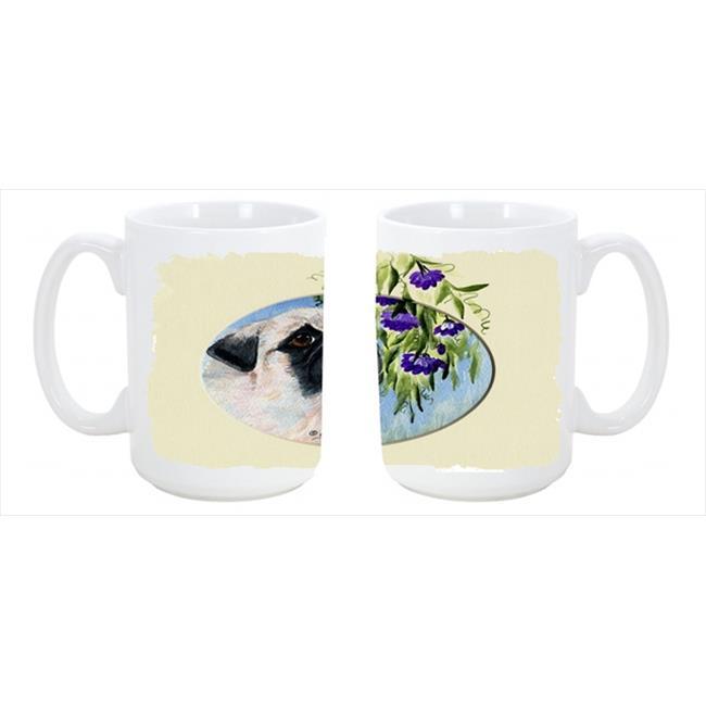 Carolines Treasures SS8064CM15 Pug Dishwasher Safe Microwavable Ceramic Coffee Mug 15 oz. - image 1 of 1