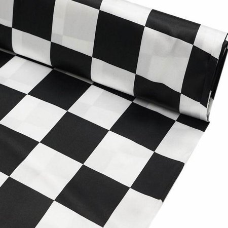 BalsaCircle Black and White 54 inch x 10 yards Checkerboard Satin Fabric Roll - Sewing Crafts Draping Decorations Supplies](Checkered Flag Fabric)