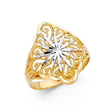 14k Two Tone Italian Solid Gold 20mm Band Fancy Solar Sun Light Design Ring Size 7.5 Available All Sizes (14k Two Tone Light)