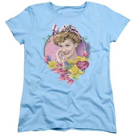 Lucy-Springtime Short Sleeve Womens Tee, Light Blue - Large - image 1 of 1