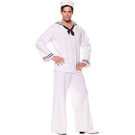 White Sailor Shirt Adult Halloween Costume](Sailor Halloween Costume Men)