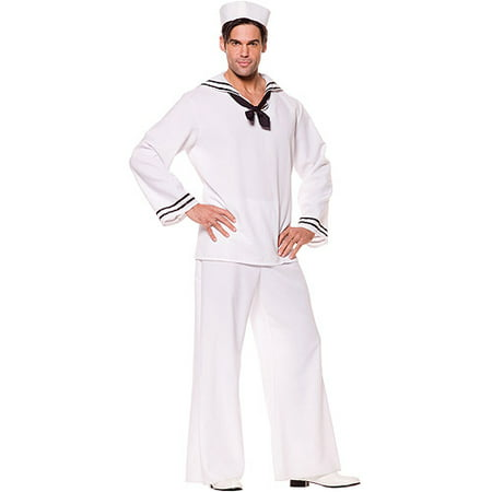 White Sailor Shirt Adult Halloween Costume](Sailor Halloween Costume Man)