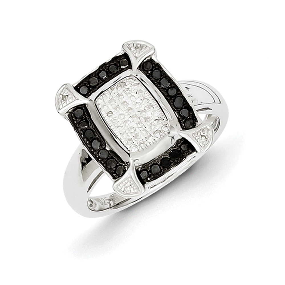 1/3 Ctw Black & White Diamond Rectangle Ring in Sterling Silver