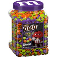 M&M'S Ghoul's Mix Milk Chocolate Halloween Candy Jar (62 oz.) Plus Bonus Rainbow Gumballs Perfect For All Ocassions Halloweeen, Back to school, Thanksgiving, Christmas