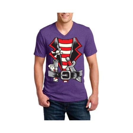 Pirate Costume Men V-Neck Shirts Ringspun Tee