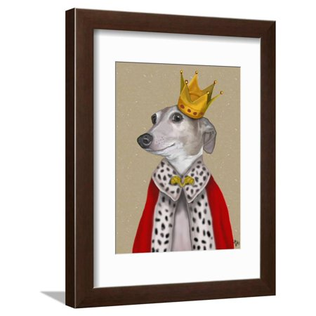 Greyhound Queen Whimsical Dog Humor Animal Portrait Framed Print Wall Art By Fab Funky ()