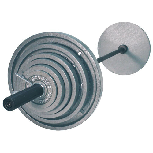 USA Sports by Troy Barbell 300 lb. Olympic Gray Weight Set with Black Bar