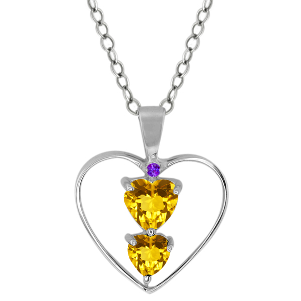 0.69 Ct Heart Shape Yellow Citrine Sterling Silver Pendant