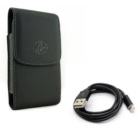 Leather Case Belt Clip w Charger Cord USB Cable for #model_series - Holster Cover Pouch Vertical Carry and Power Wire Sync Fast Charge Data