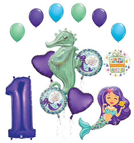 Mermaid Wishes and Seahorse 1st Birthday Party Supplies Balloon Bouquet (Best Wishes For First Birthday)