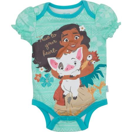 Disney Baby Pajamas (Disney Moana Newborn Infant Baby Girls' Bodysuit, Blue)
