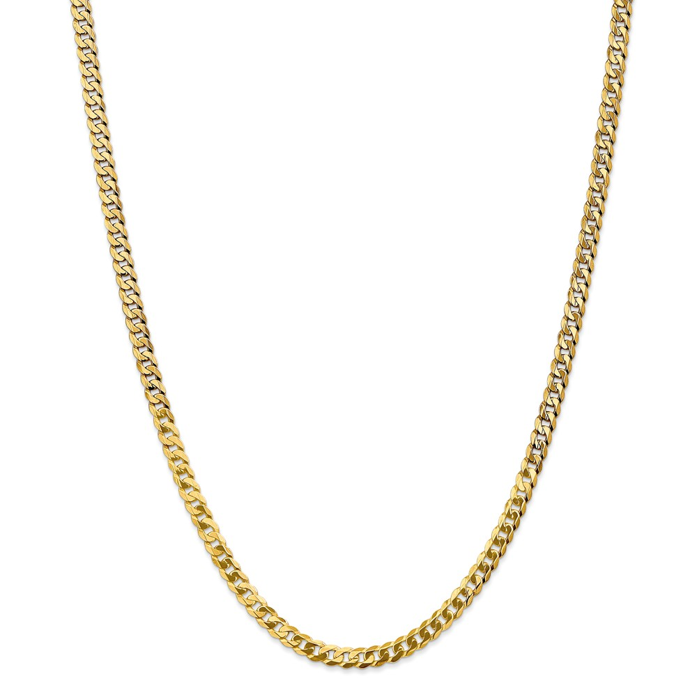 14k Yellow Gold 4.6mm Solid Polished Flat Curb Chain Necklace Lobster Claw Length: 18 to 24 by Kevin Jewelers