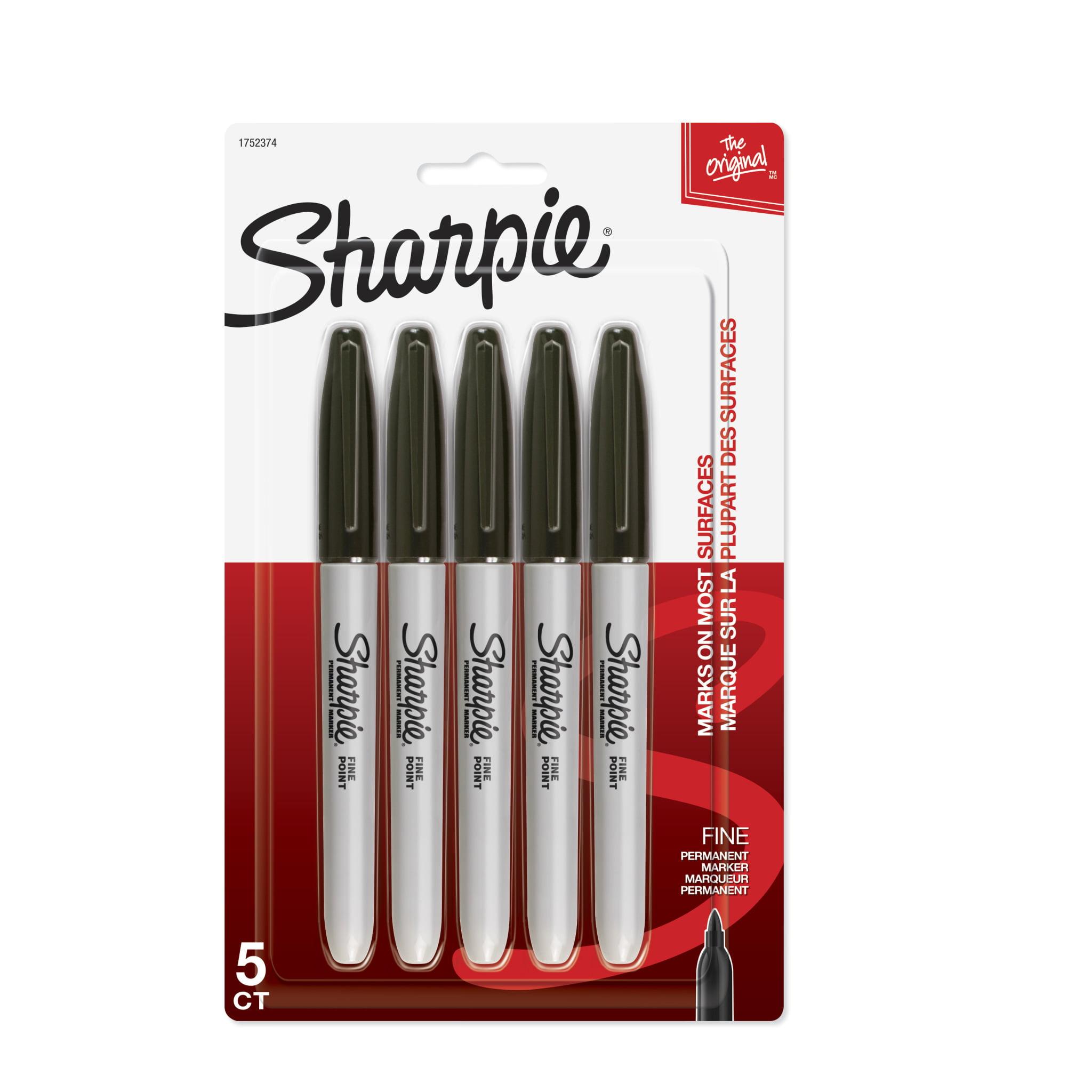 Sharpie Permanent Markers, Fine Point, Black, 5 Count