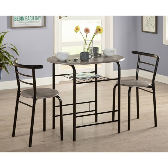 Small Wooden Kitchen Table And Chairs 3 Piece Set: Bistro Table Set 3 Piece Dining For 2 Furniture Chair