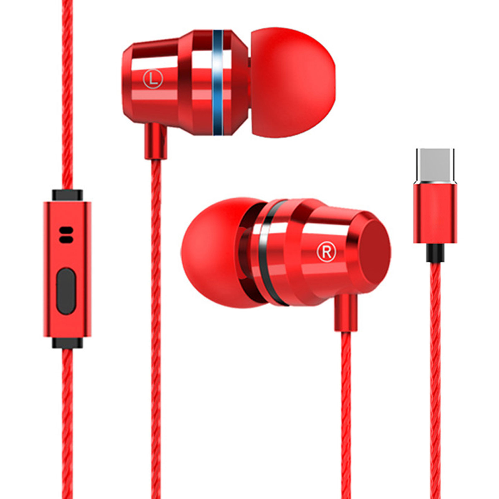 Wired In-Ear Type-C Earphone Earbuds Headphone Headset Stereo Super Bass HD Mic