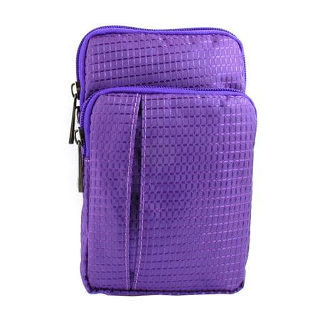 Unique Bargains Portable Checked Vertical Holder Shoulder Bag Pouch Purple For Smartphone Mp4