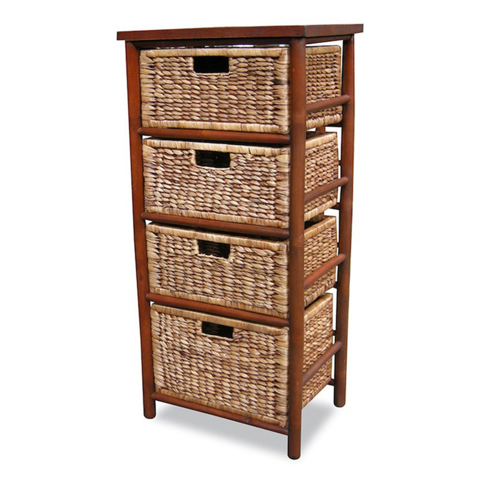 Heather Ann Creations Kala 4 Drawer Open Sided Bamboo Storage Cabinet
