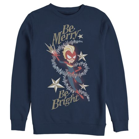 Marvel Men's Christmas Captain Marvel Merry & Bright Sweatshirt ()