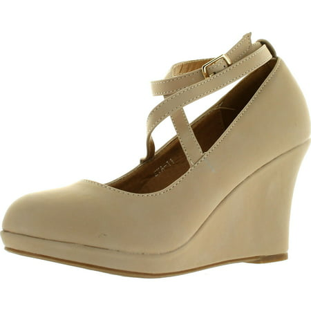 Top Moda Eva-11 Womens Round Toe Platform Wedge Crossing Buckled Ankle Strap Suede Shoes - Toms Beige Wedges