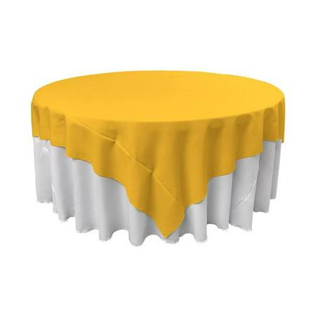 72 In Linen - la linen tcpop72x72-yellowdrkp47 polyester poplin square tablecloth, dark yellow - 72 x 72 in.