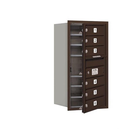 - Salsbury 3708S-06ZFP 4C Horizontal Mailbox Includes Master Commercial Lock - 8 Door High Unit - 30.50 Inches - Single Column - 6 Mb1 Doors - Bronze - Front Loading - Private Access
