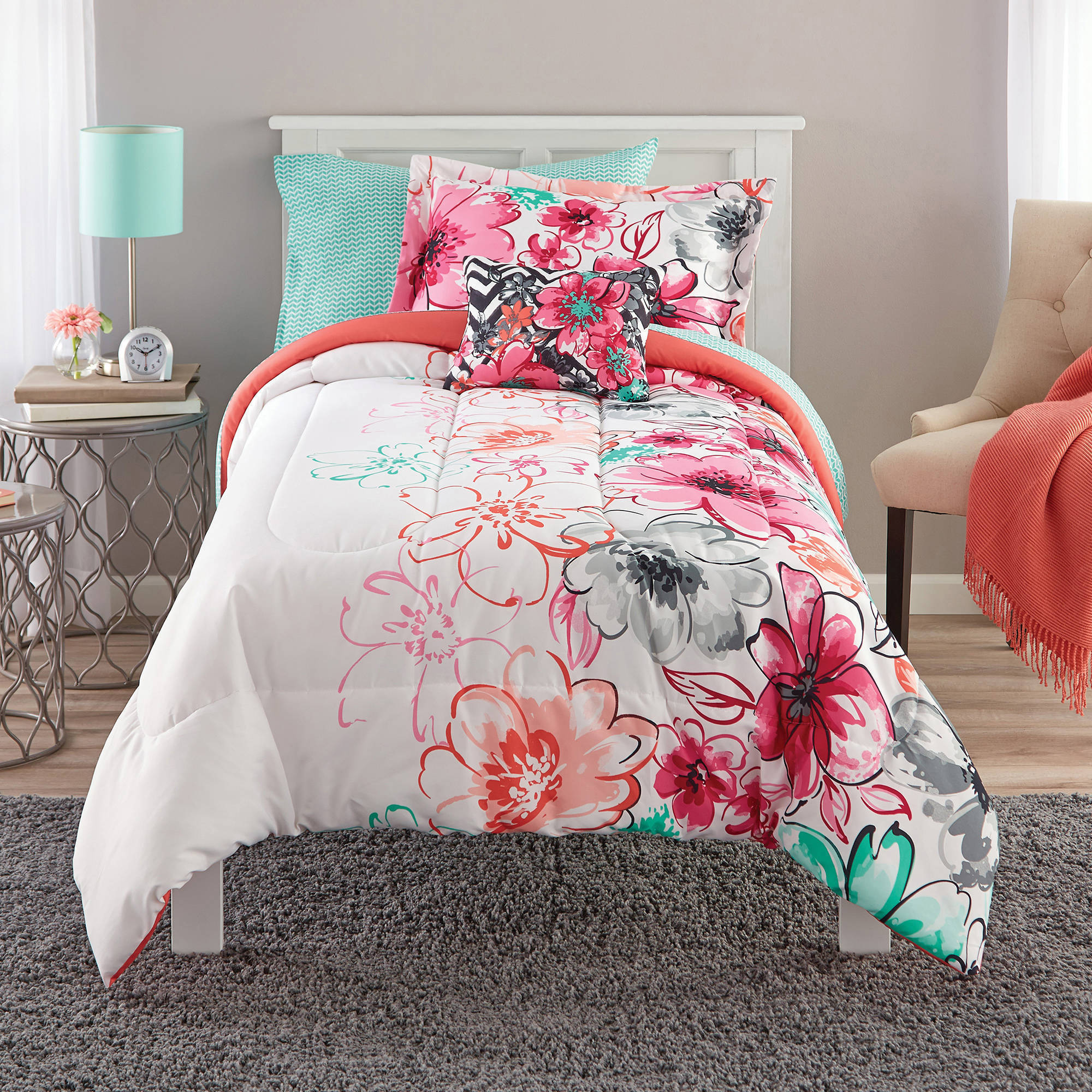 Mainstays Watercolor Floral Coordinated Bedding Comforter Set
