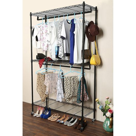 Clothing Racks on Wheels with Double Rod & 3 Shelves, Wire Shelving Clothing Rolling Rack Heavy Duty Garment Rack,47.2 x 17.7 x 79 Inch,Y00427 Heavy Duty Clothes Rack 47.2 x 17.7 x 79 Inch,Large Wire Shelving Hanging Closet Organizer and Storage,Sturdy 2 Rod 3 Shelves Garment Rack Clothes Stand Rack For Bedroom Cloakroom,Black Modern Design & Open SightThe metal wire design for the garment rack is simple and modern, which is suitable for most dcor. And Open design offers you for clear visibility and grab quickly what you want. Large CapacityPratical clothes rack equipped with 3 adjustable shelves, 2 hanging rod and 2 raw side hooks. You can use bottom shelf to keep your shoes, luggage or other daily items and put your beddings on the top shelf.The side hooks are perfect for ties, belts or scarves. Adjustable HeightThis clothing rack equipped with adjustable shelves, simply slide the shelf to the desired height and attach the sleeves to hold the shelf in place.These adjustable shelves allow for versatility in your household storage. 360 RotatingThe rolling clothes rack is equipped with 4 heavy-duty caster wheels for easy portability around the house. The wheels have a 360 swivel for smoother transportation. Two of the caster wheels have locking brakes for safety and security to keep the garment rack in place. Stable ConstructionWardrobe rack constructed with powder sprayed carben steel pipes, the closet is sturdy and rustproof. The clothing rack will company you for years like new. The weight capacity of each shelf is approx 66 lbs.Introductions:Are you always bothered by your messy room? And do you want to organize your clothes well? If so, you can't miss this Double Layer Electroplate Coated Mesh Garment Rack Hanger. Adopting high quality material, it features stable, sturdy and durable. The height-adjustable wire shelves offers a large storage space for clothes, scarves, ties, bags and other stuffs. Moreover, it has two bars with 4 hooks, which allows you to hang your clothes, suit, coat, hat, bag, etc. So what are you waiting for? Just take it home!Features:1. Made of high quality material, stable, sturdy and durable2. It has a long service time3. Large storage capacity, make your room no longer in a mess4. Flexible wheels, easy to move to anywhere5. Spacious and adjustable, multifunctional and practical6. Easy to assemble and maintainSpecifications:1. Material: Carbon Steel2. Color: Black3. Process Finish: Powder Coating4. Dimensions: (47.2 x 17.7 x 79)  / (120 x 45 x 200)cm (L x W x H)5. Pipe Size: 25x1.0mm (Diameter x Thickness)6. Weight: 32 lbs / 14.5 kg7. Per Shelf Maximum Load: 110 Lbs / 50 kg8. Occasion: Bedroom, Lanudry Room, Hotel, etc.Package Includes:1 x Garment Rack Hanger