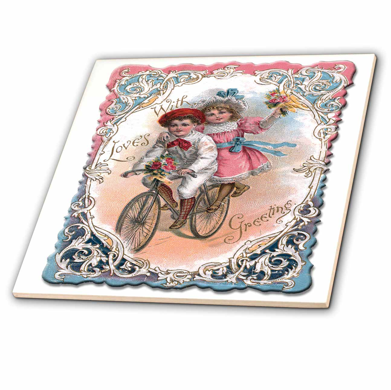 3dRose Cute Boy and Girl on a Tandem Bicycle with Ornate Victorian Frame - Ceramic Tile, 6-inch