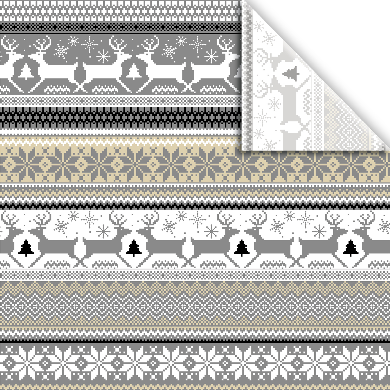 "Jillson & Roberts Printed Gift Tissue 20"" x 30"", Sweater Print Silver & Gold (240 Sheets)"