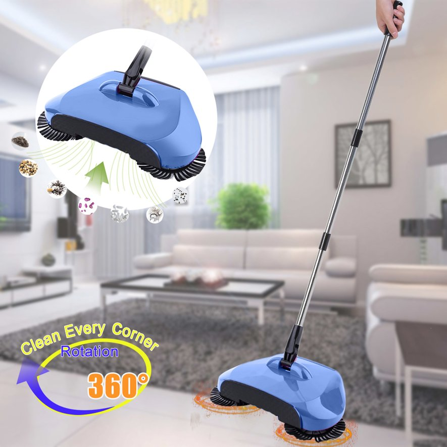 3 in 1 Broom Dustbin Trash Can Floor Cleaning Machine Rotated Hand Push Sweeper