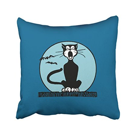 WinHome Cartoon Vintage Halloween Howling Halloween Cat And Moon Blue Polyester 18 x 18 Inch Square Throw Pillow Covers With Hidden Zipper Home Sofa Cushion Decorative Pillowcases](Halloween Cartoon Artwork)
