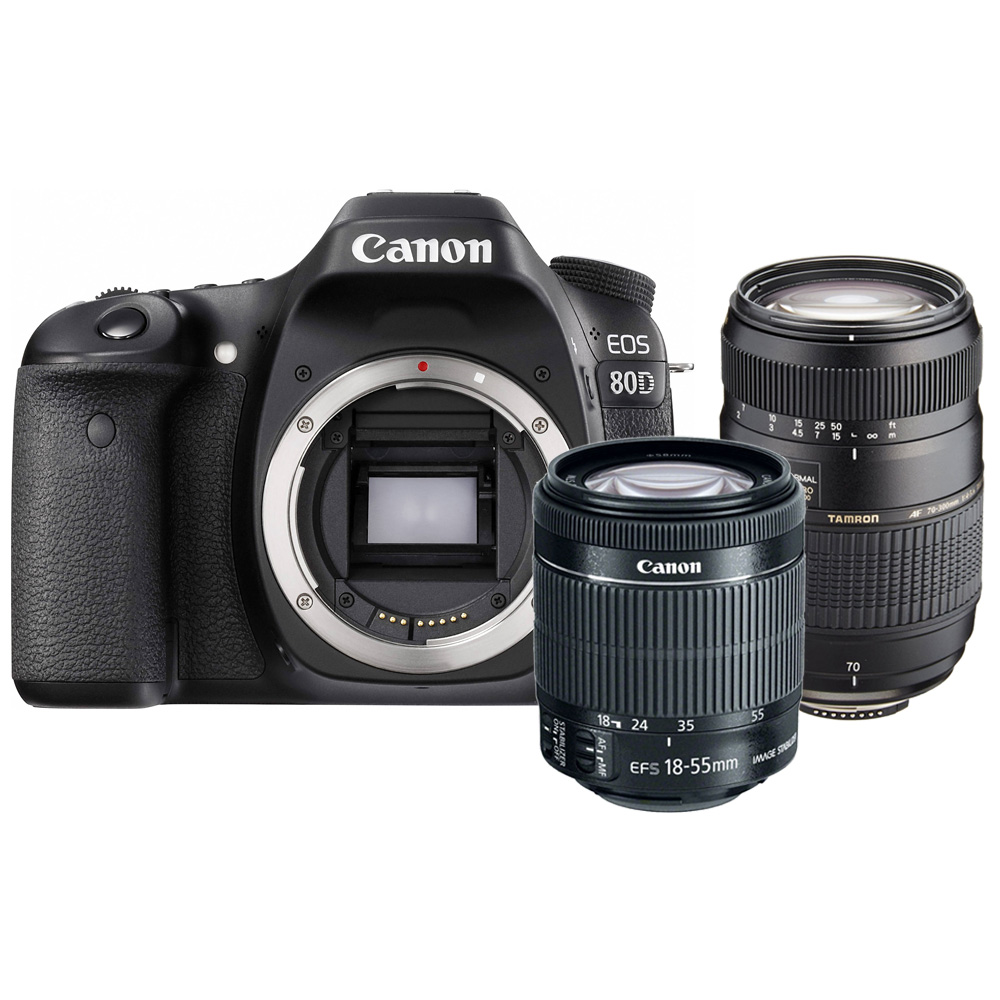 Canon EOS Rebel 80D 24.2MP DSLR Camera with 18-55mm + Tamron 70-300mm Lens by Teds