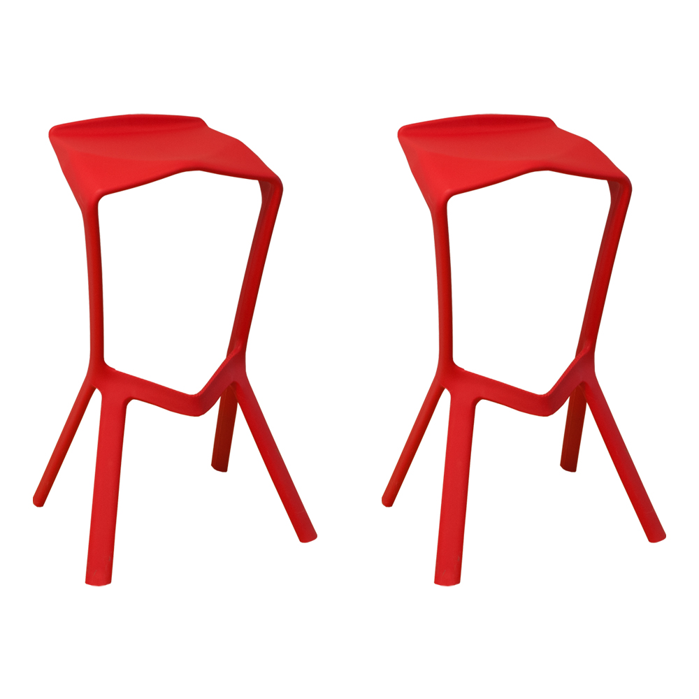 Aspect Modern Plastic Barstool- Set of 2 (Red)