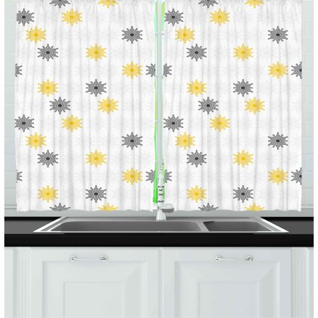 Grey and Yellow Curtains 2 Panels Set, Moroccan Style Modern Sun Beam Flowers with Rounds Dots Image, Window Drapes for Living Room Bedroom, 55W X 39L Inches, Black and Pale Grey, by Ambesonne ()