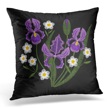 ECCOT Blue Beautiful Iris Flowers Chamomile Embroidery Violet Spring Purple Wildflowers on Black Green Pillowcase Pillow Cover Cushion Case 16x16 inch