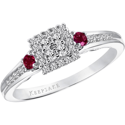 Keepsake Ruby Blossom 1 4 Carat T.W. Diamond and Ruby Sterling Silver Engagement Ring by Frederick Goldman