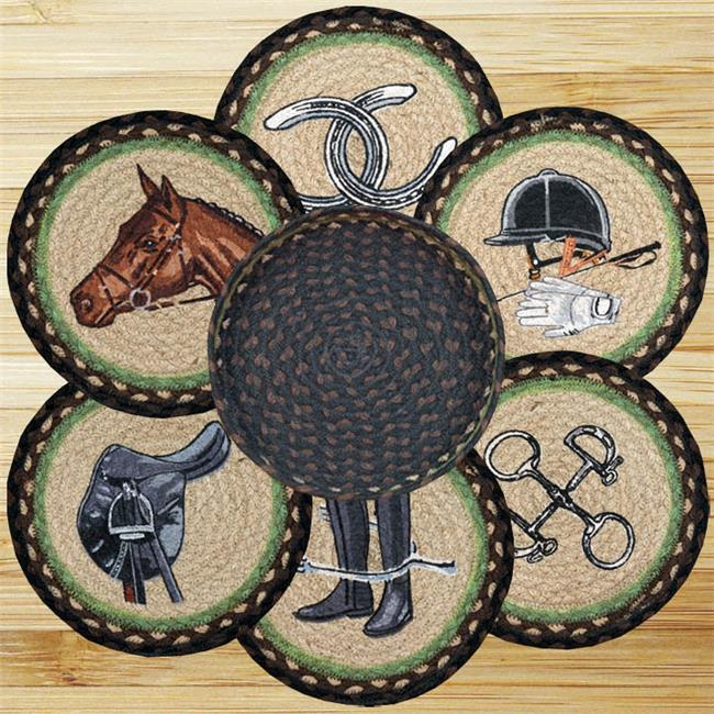 Earth Rugs 56-383E Equestrian Trivets in a Basket