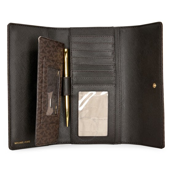 c11ba9627dd6 Michael Kors - Jet Set PVC Checkbook Wallet - Brown - Walmart.com