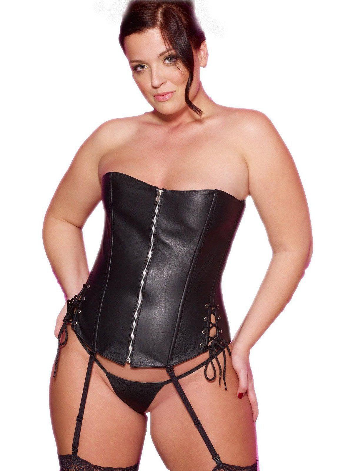 Lingerie Allure Lingerie AL-11-513X Leather Corset plus sizes Black   2X 6193e6d88
