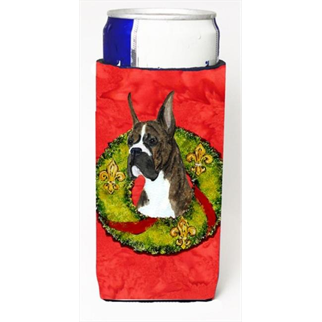 Brindle Boxer Cristmas Wreath Michelob Ultra bottle sleeves For Slim Cans - image 1 of 1