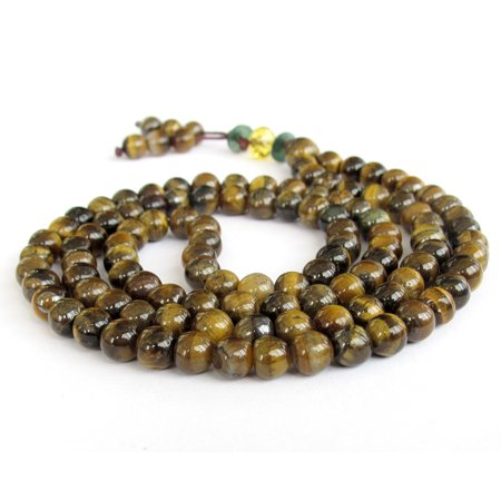 Tibetan Buddhist 108 Tiger Eye Gem Prayer Beads Mala Necklace Citrine Tigers Eye Necklace