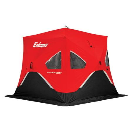 Eskimo FatFish Portable 3-4 Person Pop Up Ice Fishing Shanty Shack Shelter Hut Eskimo Ice Chisel