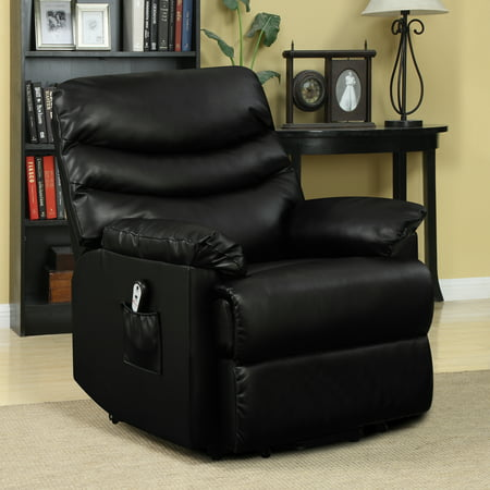 Plus Power Chair (Ordway Wall Hugger Power Recliner and Lift Chair in Black Renu Leather)