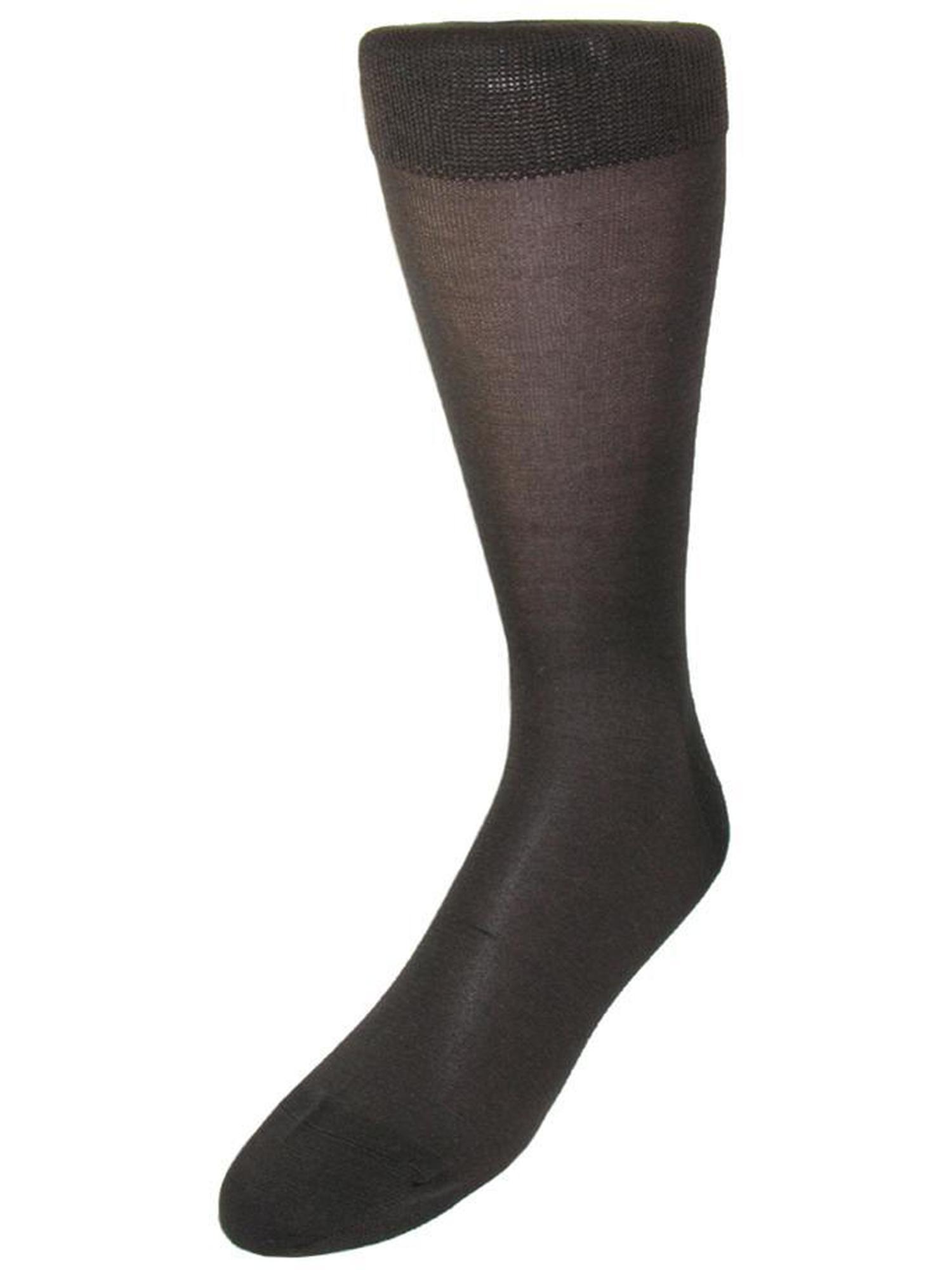 Mens Silk Mid Calf Dress Socks, Brown