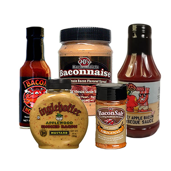 Bacon Condiment Sampler Pack (5pc Gift Set) Baconnaise Bacon Mayo, Bacon BBQ Barbecue... by