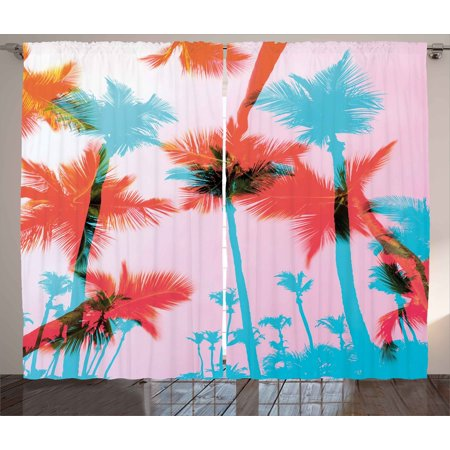 Tropical Curtains 2 Panels Set, Coconut Palm Tree Silhouettes Exotic ...