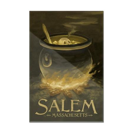 Salem, Massachusetts - Cauldron - Halloween Oil Painting - Lantern Press Artwork (8x12 Acrylic Wall Art Gallery Quality)