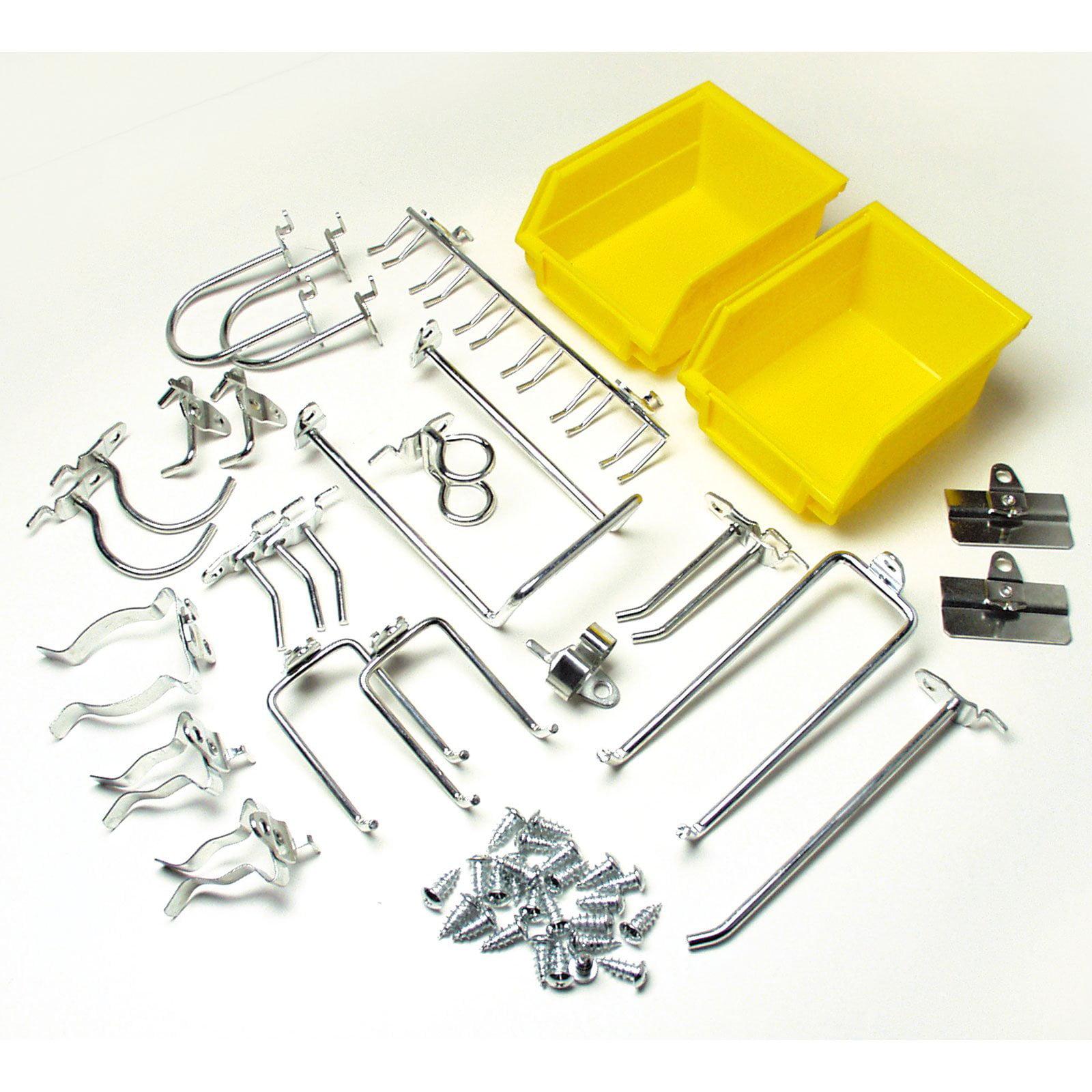 """DuraHook 26-Piece Zinc Plated Steel Hook & Bin Assortment for DuraBoard or 1/8"""" and 1/4"""" Pegboard (24 Assortment Hooks & 2 Bins)"""