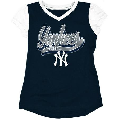 MLB New York Yankees Girls Short Sleeve Team Color Graphic Tee](New York Yankee Baseball)