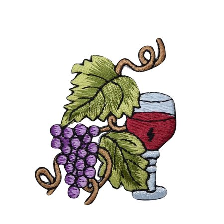 Wine Glass - Grape Bunch on Vine - Small - Fruit - Embroidered Patch/ Iron on Applique